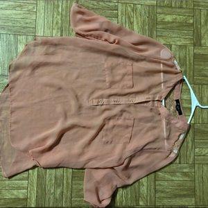 Coral quarter sleeve, SHEER blouse.